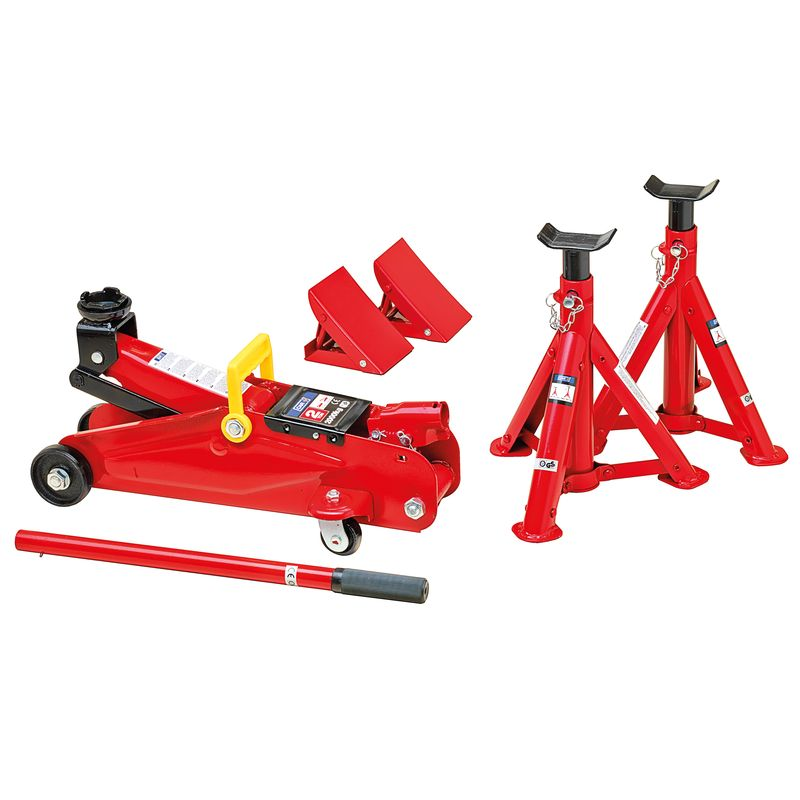 6 Piece Garage Set 2 Ton Hydraulic Trolley Jack Jack Stands And