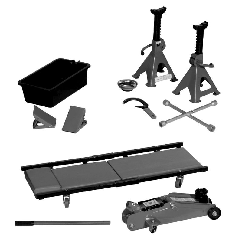 10 Piece Garage Set 2 Ton Hydraulic Trolley Jack Jack Stands And
